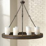 "Cabot 38"" Wide Rustic Iron Ring Wagon Wheel Chandelier - #6K340 