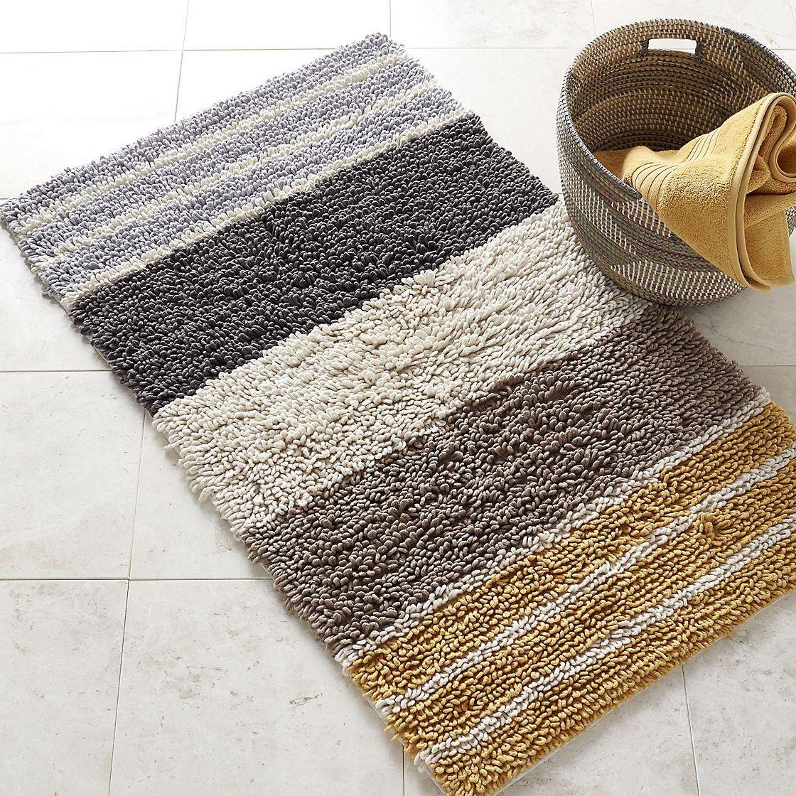 Chunky Loop Stripe Bath Rug – Marigold
