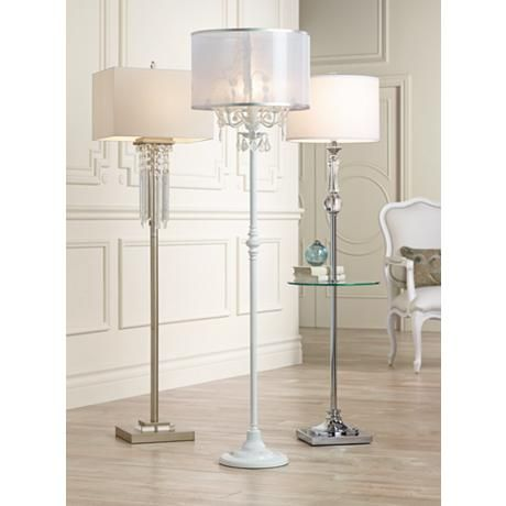 Ciara Draped Antique White Crystal Chandelier Floor Lamp – #2V787 | Lamps Plus