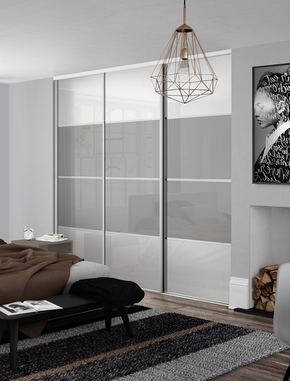 Classic 4 panel sliding wardrobe doors in Pure White and Light Grey glass with S…