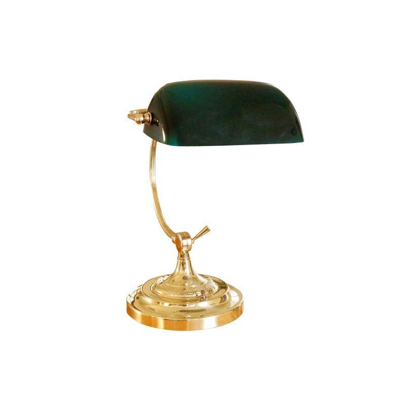 Classic Brass & Glass Banker's Lamp