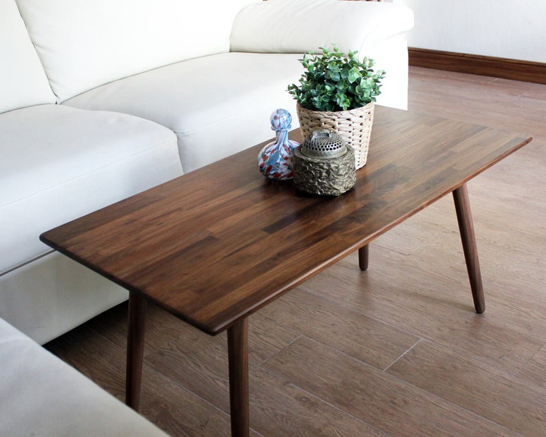 Classic Walnut Coffee Table – Modern Wood Furniture Mid Century Eames Style Hardwood Design