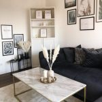 Coffee Table White Marble Effect with Gold DELANO