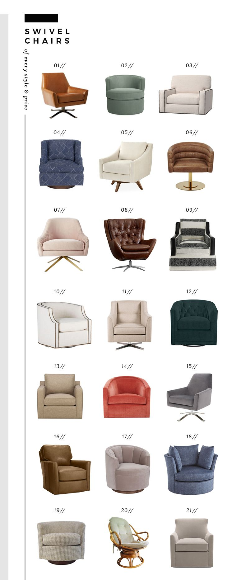 Comfortable Swivel Chairs of Every Style and Price – Room for Tuesday