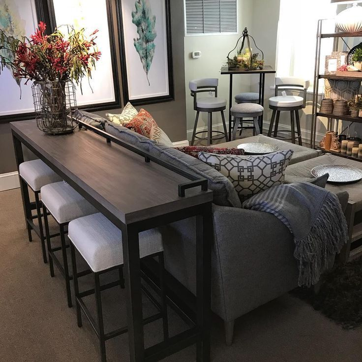 Console table and stools behind couch        #Console #Couch #Stools #Table – pickndecor.com/furniture