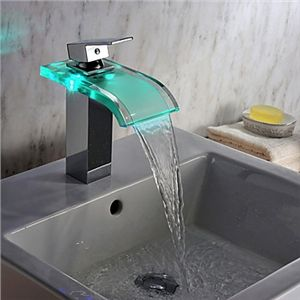 Contemporary Chrome Finish LED Waterfall Hydroelectric Power Glass Bathroom Sink…