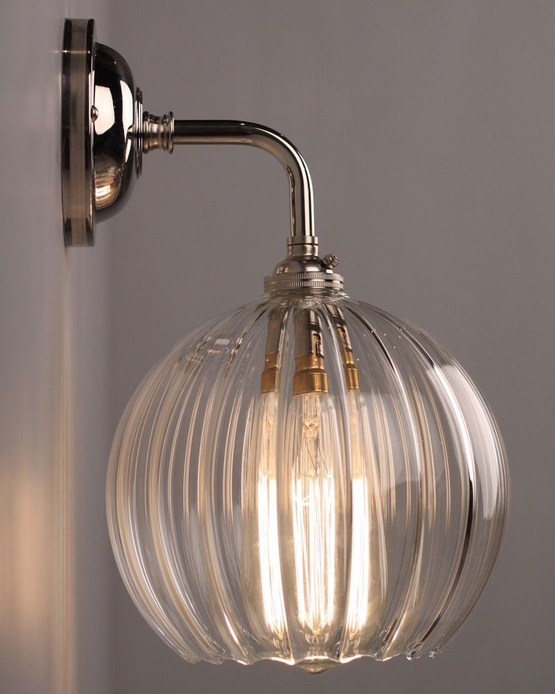 Contemporary Wall Light With Ribbed Hereford Glass Globe Shade – pickndecor.com/design