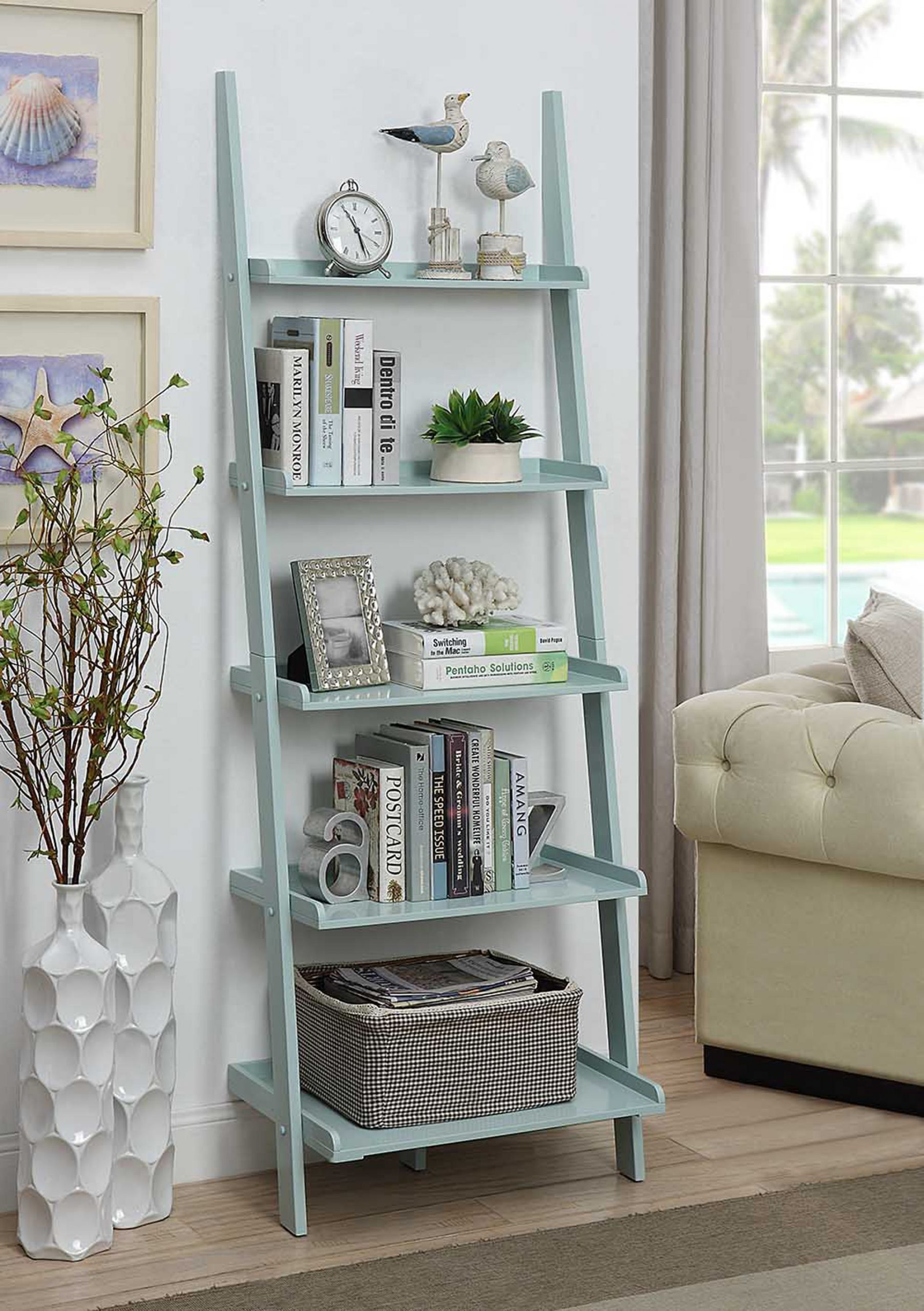 Convenience Concepts American Heritage Sea Foam Bookshelf Ladder & Reviews – Goedekers.com