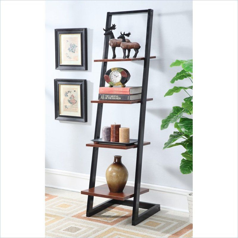 Convenience Concepts Designs2Go 4 Tier Ladder Bookshelf in Black and Cherry – 131499