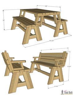 Convertible Picnic Table and Bench – Her Tool Belt