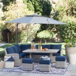 Coral Coast 11 ft. Steel Lighted Offset Olefin Patio Umbrella & Base