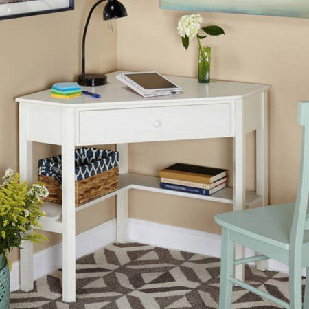 Corner Writing Desk with Pullout Drawer and Shelf, Multiple Finishes – Walmart.com