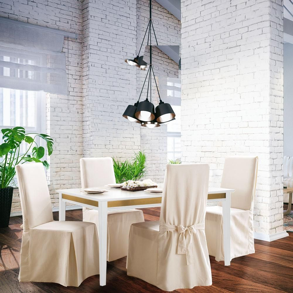 Cotton Duck Long Dining Chair Slipcover | One Piece | 100% Cotton | Machine Washable