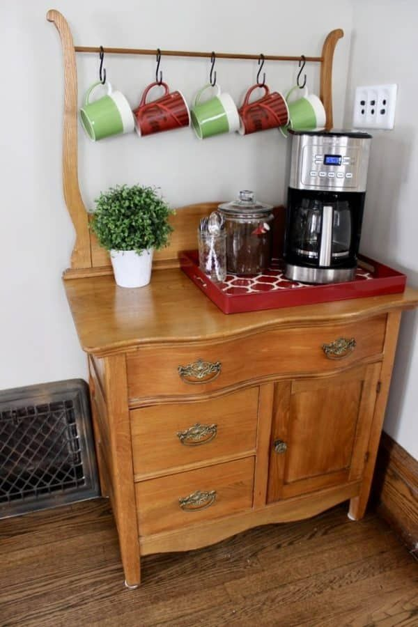 Creating a coffee bar and beverage station.