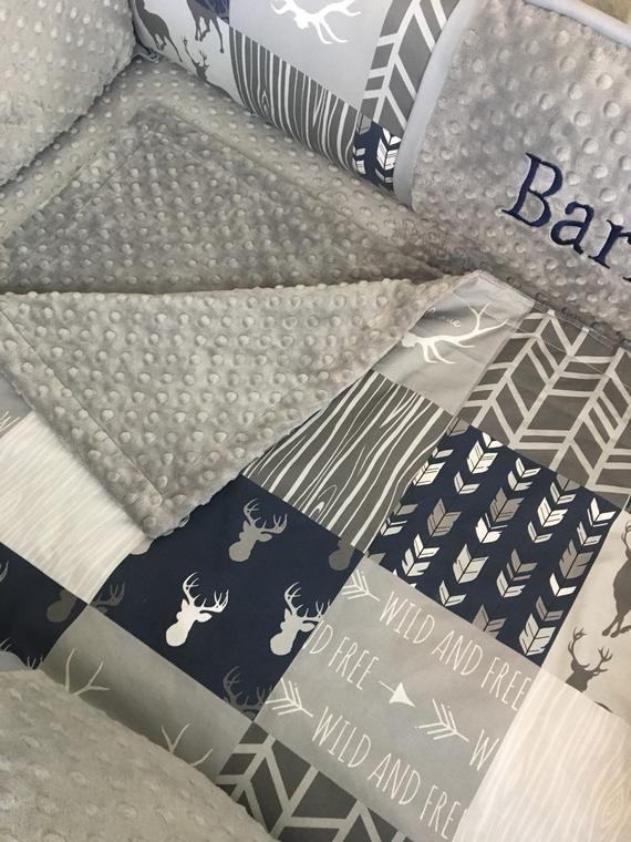 Crib bedding set baby bedding Navy  gray deer buck boy woodland baby bumperless bedding Crib set abusymother nursery set