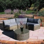 Curved Modular Rattan Garden Furniture Set – 4 Piece - worldefashion.com/decor