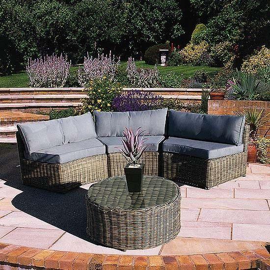 Curved Modular Rattan Garden Furniture Set – 4 Piece – worldefashion.com/decor