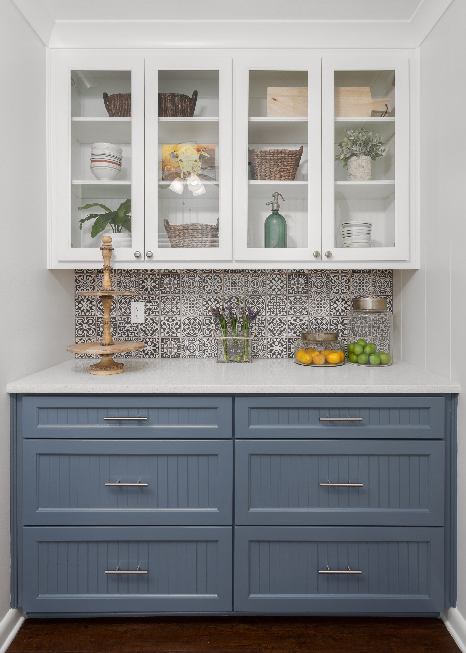 Custom Buffet serving cabinet. Glass shaker upper cabinets. Sherwin Williams Gra…