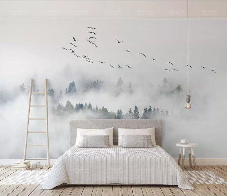 Custom Foggy Wallpaper Photo Wall Mural Bird Pine Forest Clouds Wallpaper, Flying Birds and Pine Forest Wall Murals