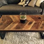 Custom Made Reclaimed Wood Chevron Coffee Table With Tubular Steel Legs