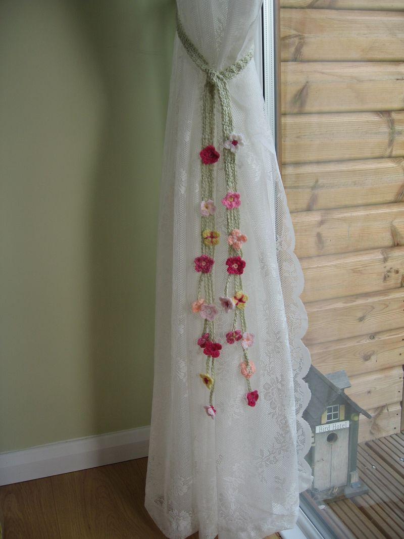 Cute crocheted flower curtain tie-backs