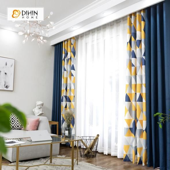 DIHIN HOME Neat Triangle Printed,Blackout Grommet Window Curtain for Living Room ,52×63-inch,1 Panel