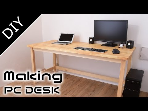 DIY机・PCデスクの作り方 コンセント収納ボックス付き作業机 【自作工房】~Making of the PC DESK(working table)