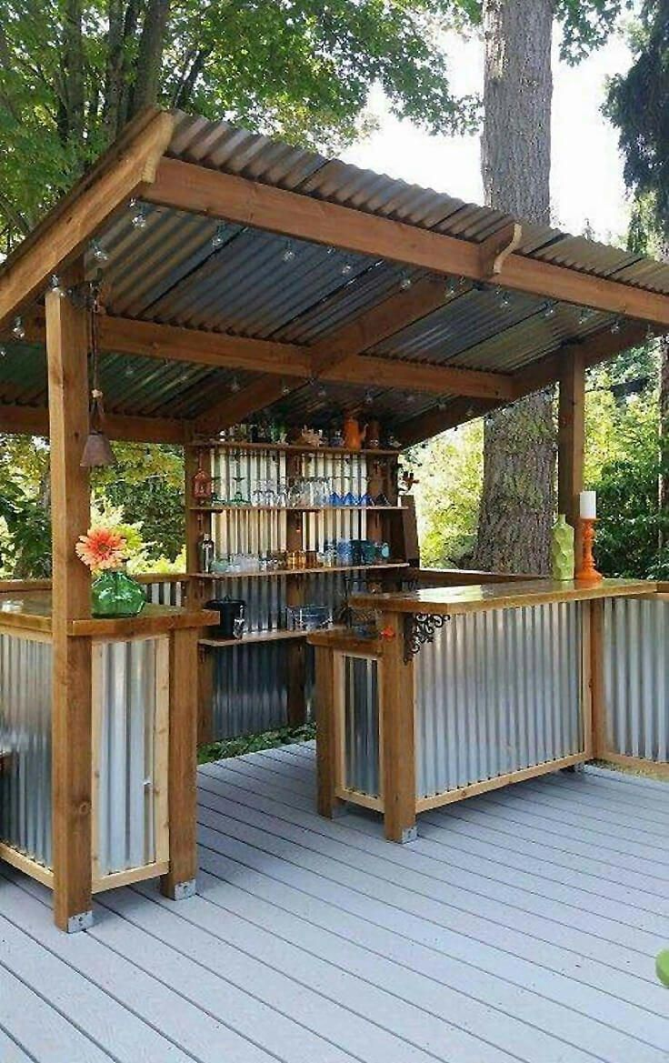DIY Corrugated Metal Outdoor Bar #outdoorpatioideasonabudget – https://bingefashion.com/home