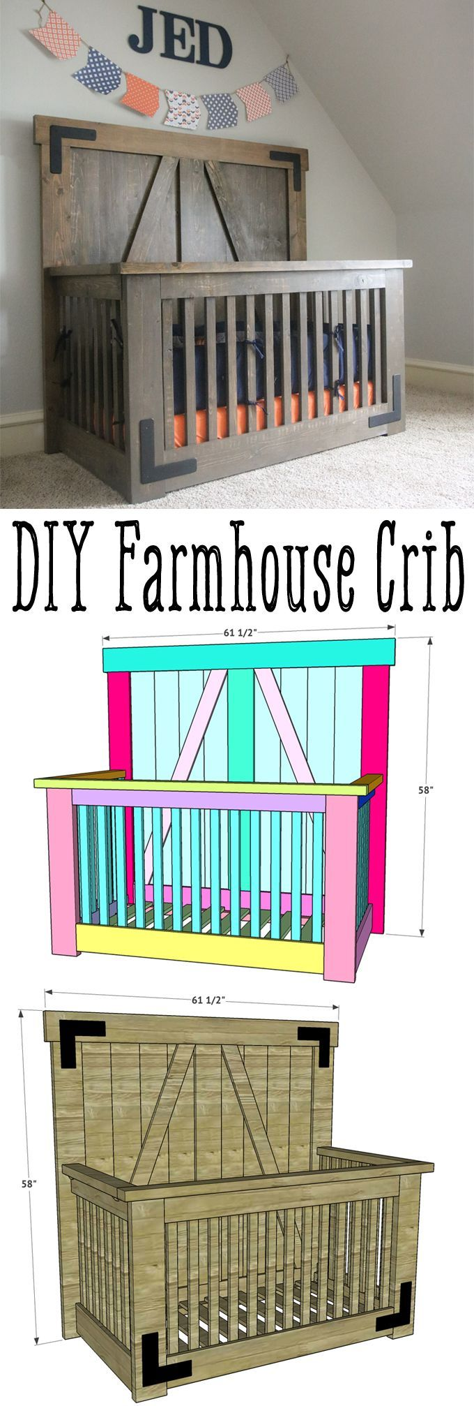 DIY Farmhouse Crib – Free Tutorial and Plans – Shanty 2 Chic
