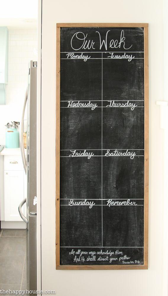 DIY Giant Chalkboard Kitchen Weekly Planner | The Happy Housie