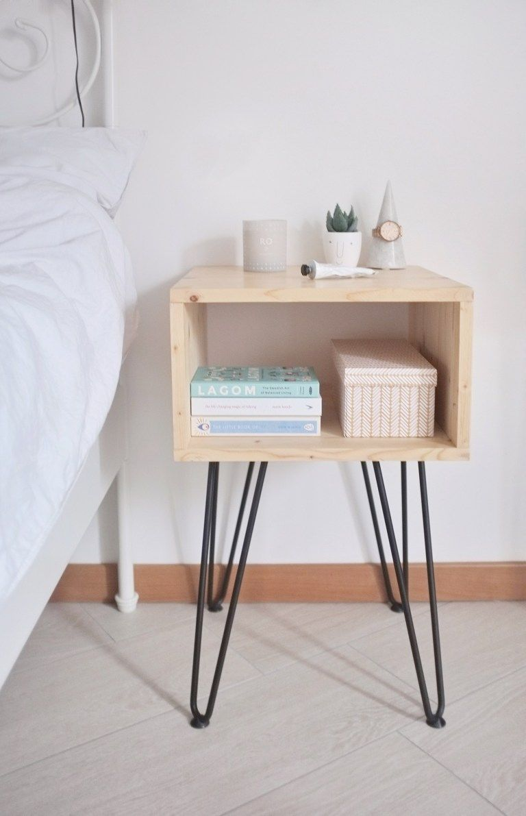 DIY // HOW TO MAKE A SCANDINAVIAN STYLE NIGHTSTAND WITH HAIRPIN LEGS