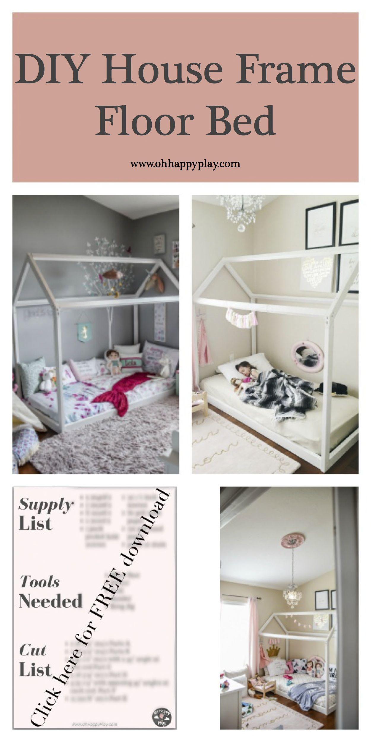 DIY House Frame Floor Bed Plan – D.I.Y -HOUSE-FRAME-FLOOR-BED-PLANS- Montessori…