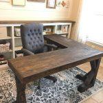 DIY L-Shaped Farmhouse Wood Desk + Office Makeover - https://pickndecor.com/interior