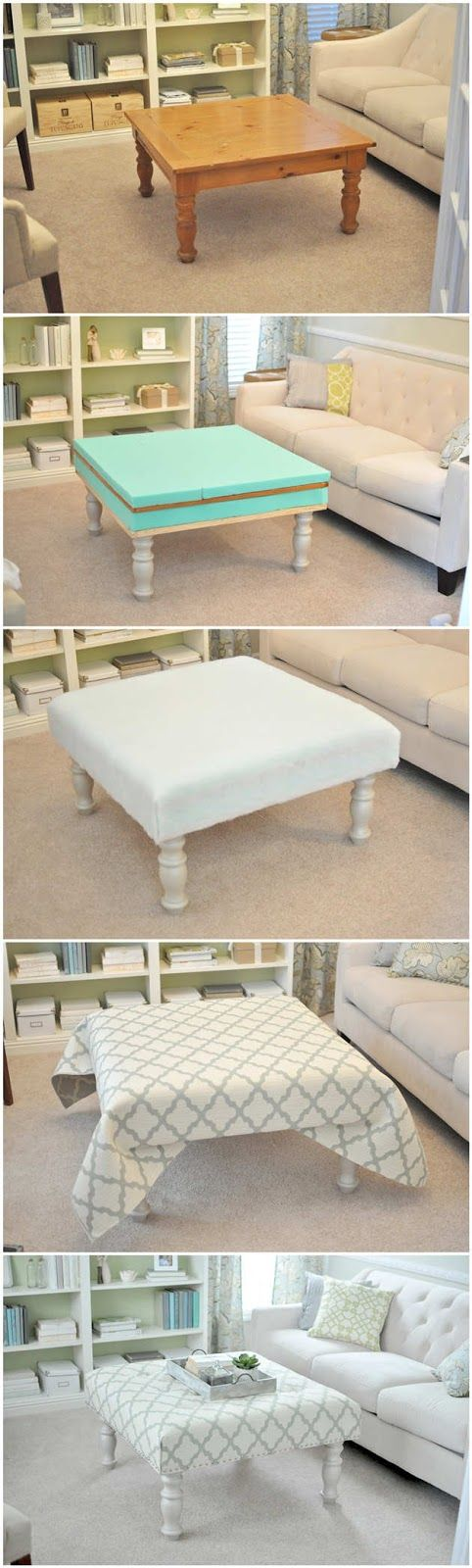 DIY Upholstered Ottoman. Instructions here: newlywedmcgees.bl…