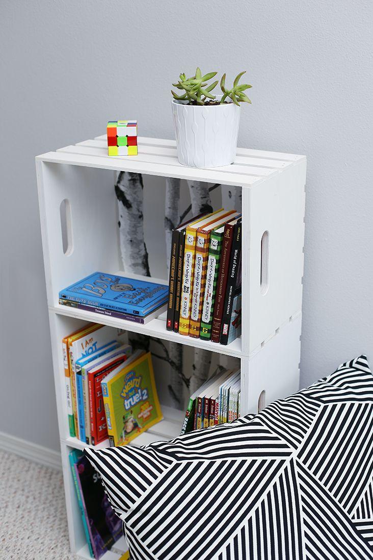DIY Wood Crate Bookshelf Tutorial – Sew Much Ado