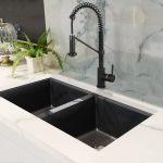 DUO évier de cuisine double en composite de granite noir et robinet noir