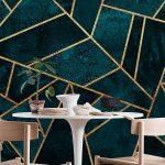 Deep Teal Stone Wall Mural / Wallpaper Abstract