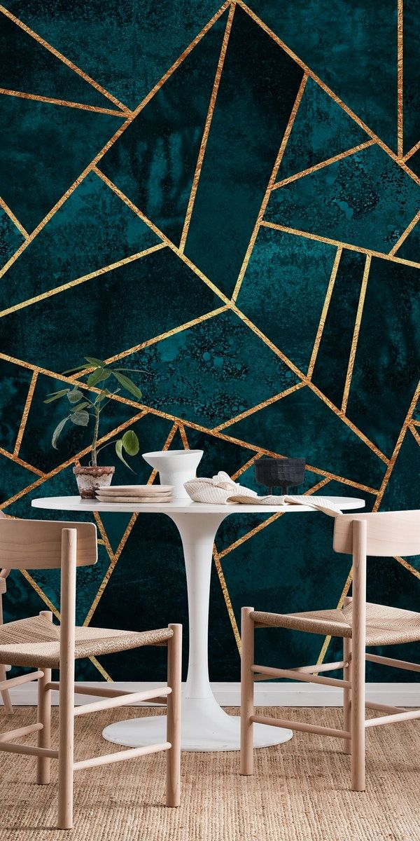Deep Teal Stone Wall Mural / Wallpaper Abstract