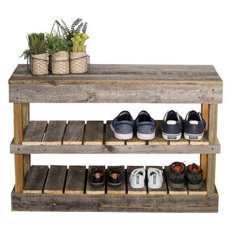Del Hutson Reclaimed Wood Shoe Bench – Walmart.com
