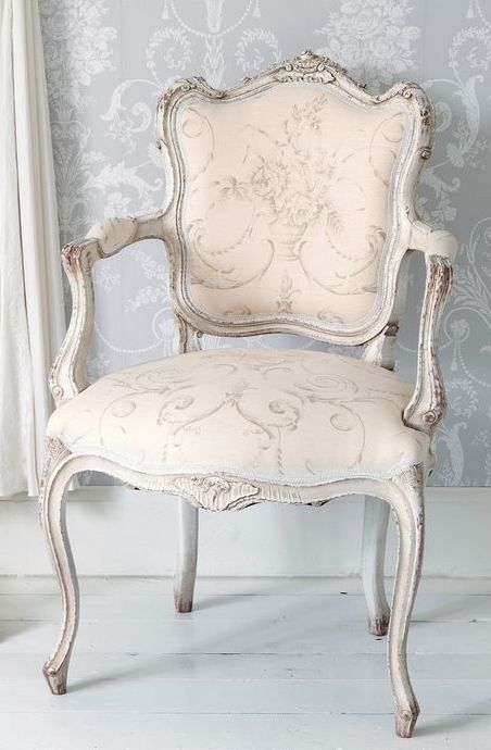 Delicate Pink #French chair with grey wash finish.  Perfect for a ladies closet….