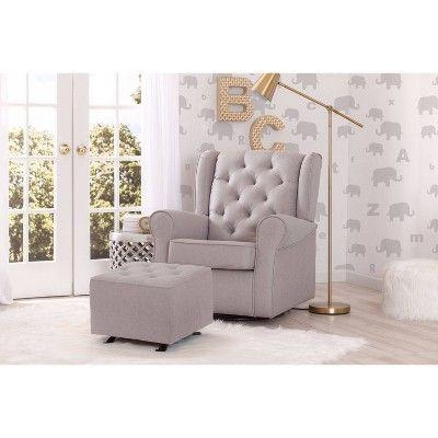 Delta Children Emma Nursery Glider Swivel Rocker Chair – French Gray