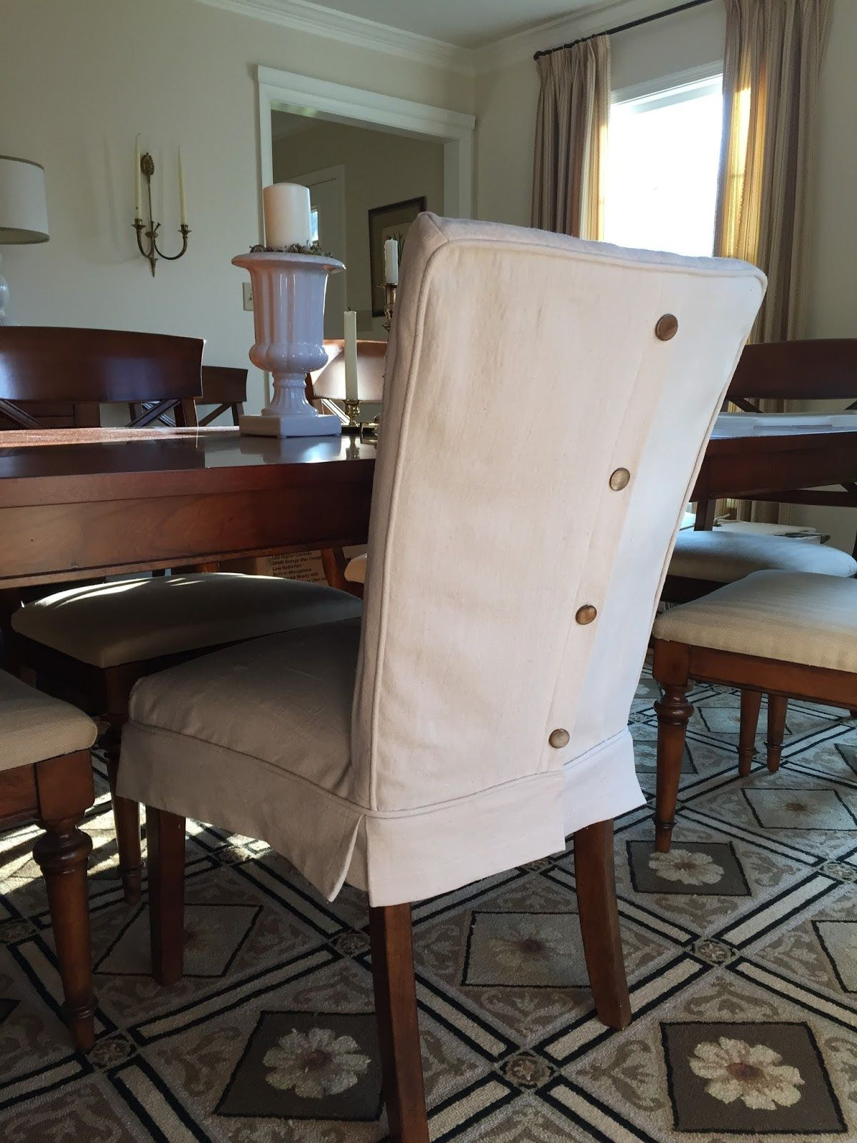 Dropcloth Slipcovers for Leather Parsons Chairs