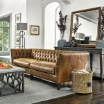 Duncan Chestnut Tufted Leather Sofa 98""