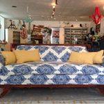 Duncan Phyfe couch - blue porcelain-esque fabric