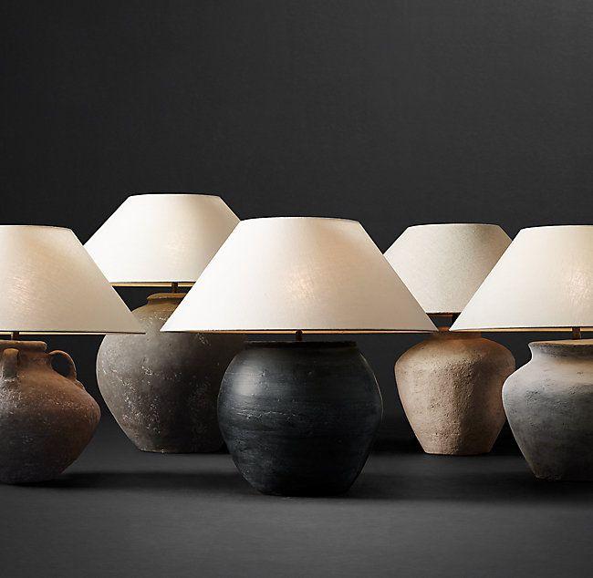 Dutch Ceramic Vessel Table Lamp – Handle Urn