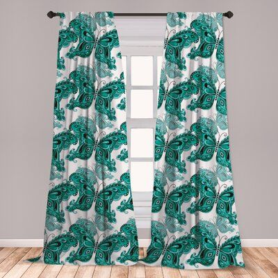 East Urban Home Butterfly Room Darkening Rod Pocket Curtain Panels | Wayfair