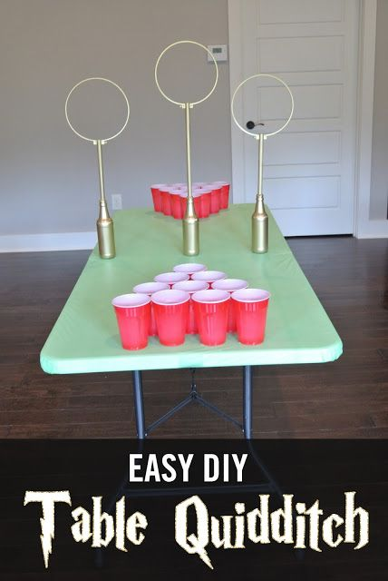 Easy DIY Quidditch Game.  Table Quidditch can be played as Quidditch Beer pong o…
