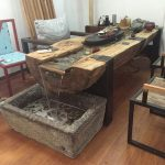 Elm tree trunk solid wood fish water tea table and... - #coffeetable #elm #fish ...