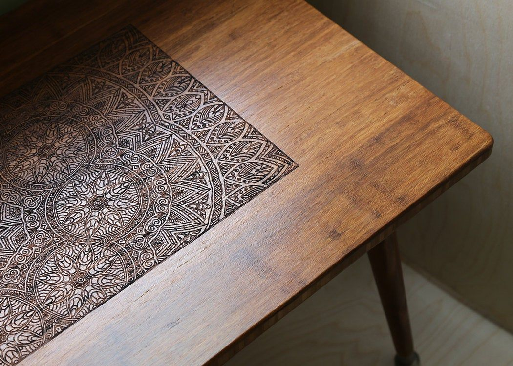 Engraved Walnut Coffee Table – Modern Wood Furniture Illustration BOHO Mid Century Eames Style
