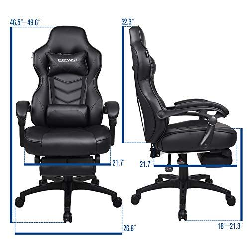 Ergonomic Computer Gaming Chair, Large Size PU Leather High Back Office Racing Chairs with Widen Thicken Seat and Retractable Footrest and Lumbar Support Video Game Chair 170 Degree Reclining (Grey) – BoughtAgain